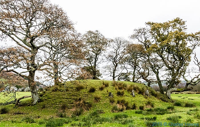 Tomen Las castle mound, Pennal, photographed from The Wales Coast path by Charles Hawes