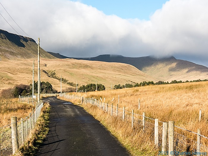 The approach road to the Lower Neuadd reservoir, Brecon Beacons national park, photographed by Charles Hawes