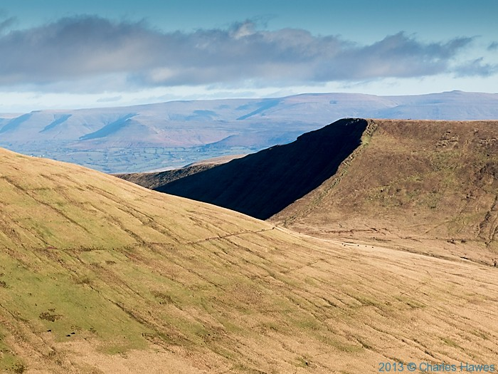 View east over Brecon Beacons from path near Corn Du, photographed by Charles Hawes