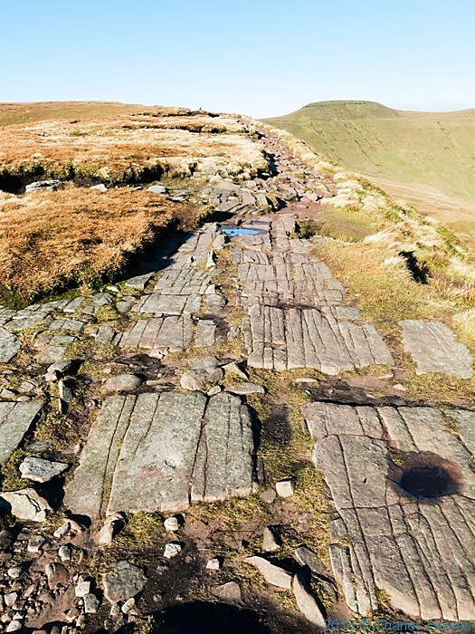 Path on ridge approaching Corn Du from the south, Brecon Beacons National Park, photographed by Charles Hawes