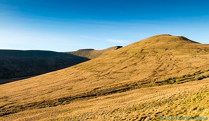 View to Corn Du, Pen-y-Fan and Cribyn from The Gap road below Cribyn, Brecon Beacons National Park, photographed by Charles Hawes