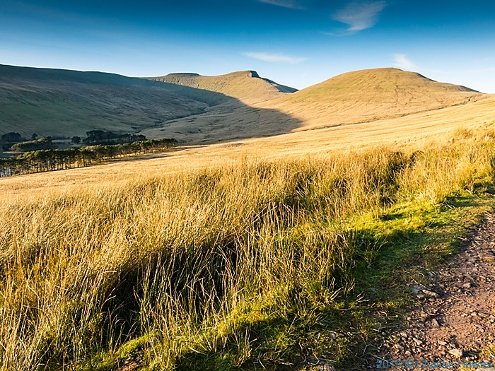 View to Corn Du, Pen y Fan and Cribyn, from The Gap road,  Brecon Beacons National Park, photographed by Charles Hawes