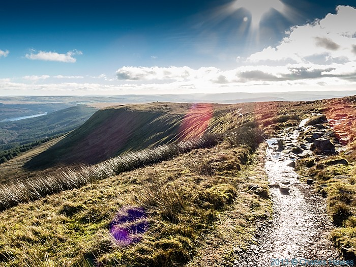 Path above Neuadd reservoir leading south from Corn Du, Brecon Beacons National Park, photographed by Charles Hawes