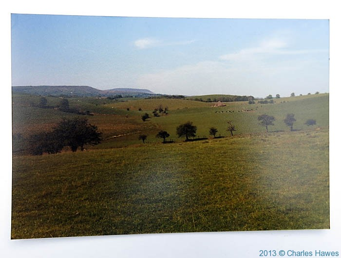 Drumlin countryside after Thornton-in-Craven photographed from The Pennine Way by Charles Hawes in 1980
