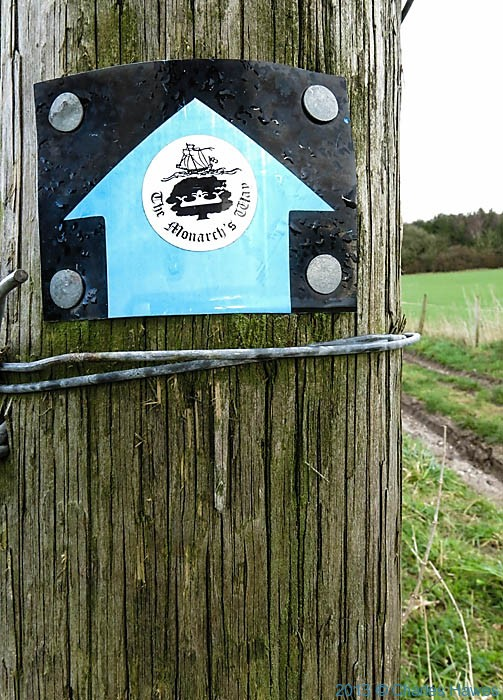Waymark sign for The Monarch's Way, photographed near Grovely Woods in Wiltshire by Charles Hawes