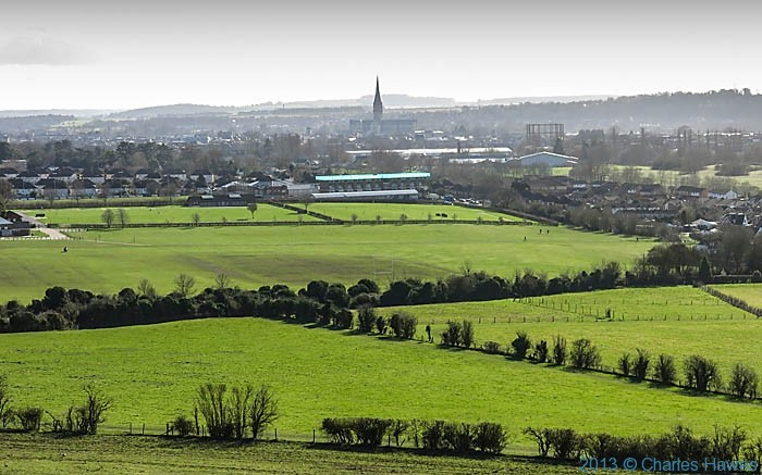 Salisbury and the catherdral photographed from Old Sarum by Charles Hawes