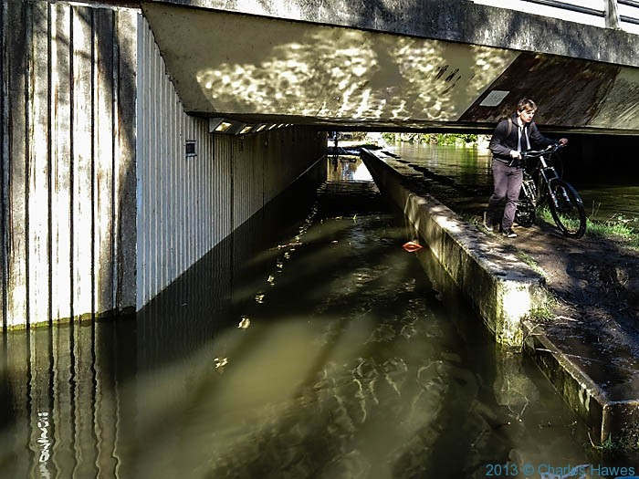 Flooded underpass next to the river Avon in Salisbury, photographed by Charles Hawes