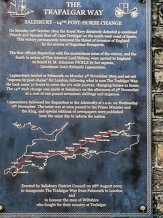 Plaque commemorating the Trafalger Way, in Salisbury, Wiltshire, photographed by Charles Hawes