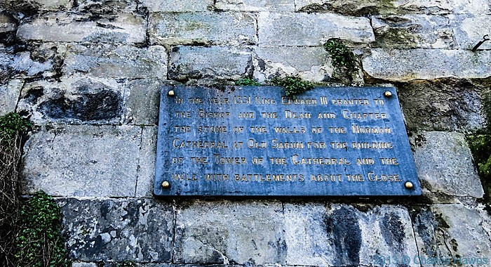 Wall plaque by St Ann's Gate, Salisbury, photographed by Charles Hawes
