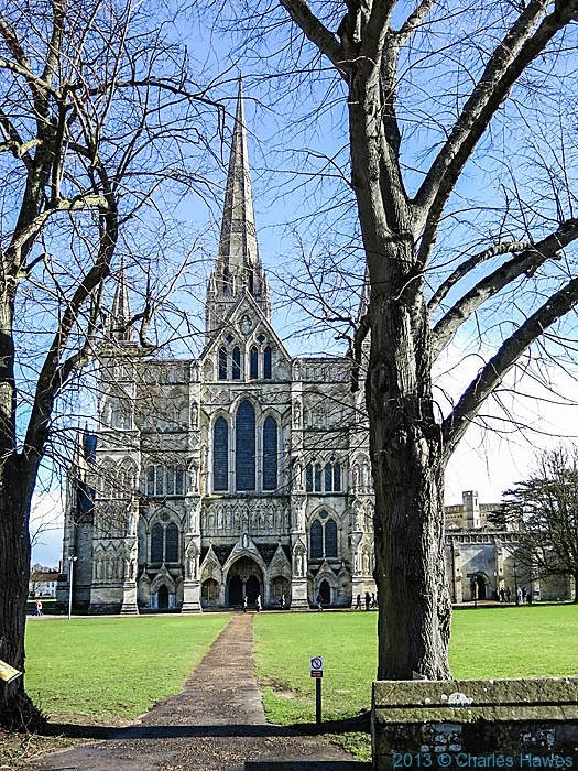 View of salisbury cathedral photographed from West walk by Charles Hawes