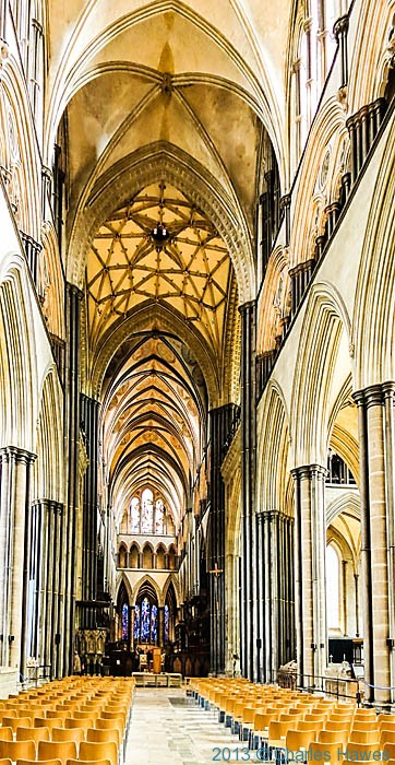 The nave in Salisbury cathedral, photographed by Charles Hawes
