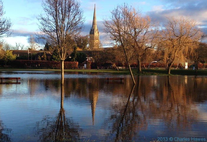 Salisbury cathedral from across flooded Queen Elizabeth Park, photographed by Charles Hawes