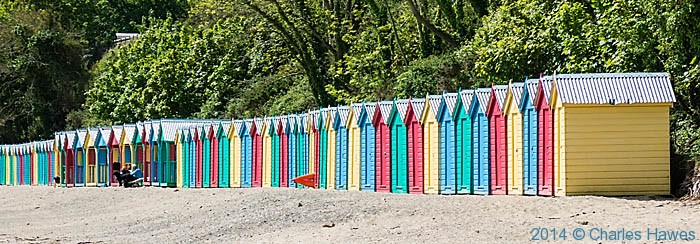 Beach Huts at Llanbedrog, Lleyn Peninsula, photographed from The Wales Coast Path by Charles Hawes