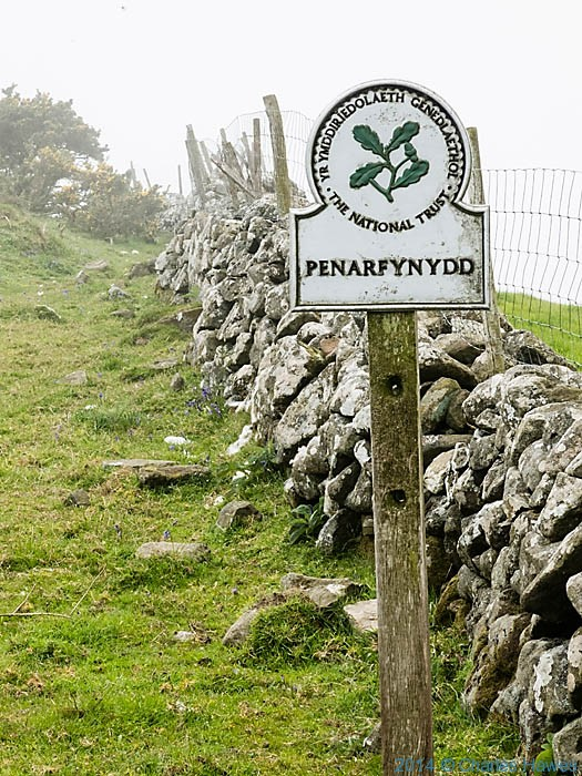National Trust sign for Penarfynydd, photographed from The Wales Coast Path by Charles Hawes