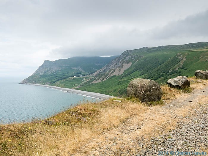 View to Porth y Nant quarry photographed from The Wales Coast path by Charles Hawes