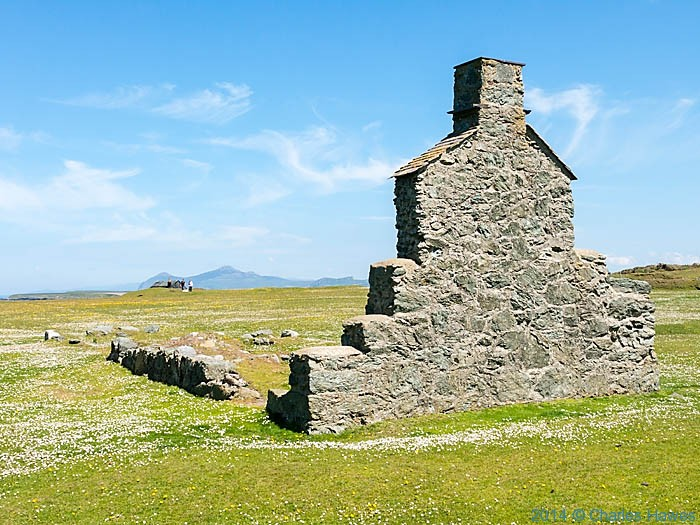 Ruined building above Porth Ysgaden, photographed from The Wales Coast Path by Charles Hawes