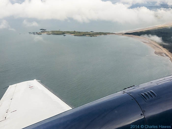 Llanddwyn Island photographed on a Citywing flight from Cardiff to Anglesey by Charles Hawes