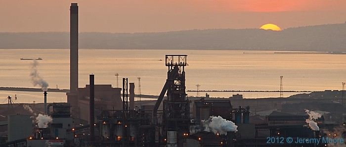 Sunset at the Margam steel works, photographed by Jeremy Moore in Wales at the Water's Edge