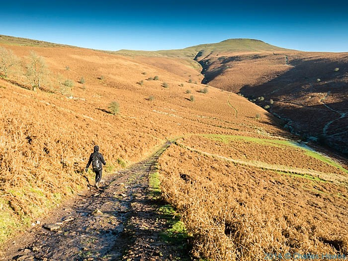 Walker on a path near Sugar Loaf, Abergavenny, Monmouthshire, photographed by Charles Hawes