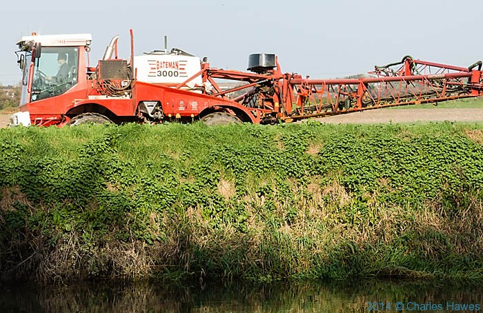 Crop sprayer on the Great Stour, photgraphed from The Saxon Shore Way by Charles Hawes