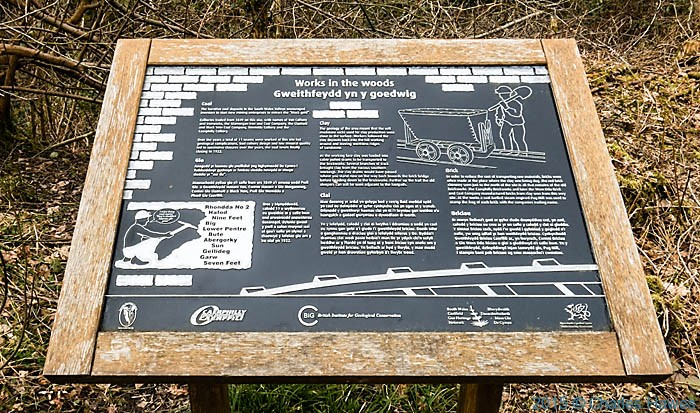 Sign explaining coal and brick workings in The Warren wood, Caerphilly, photographed by Charles Hawes