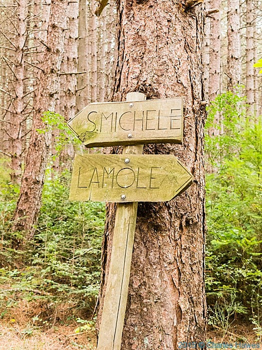 Signs on the Lamole ring walk for San Michele and Lamole, photographed by Charles Hawes