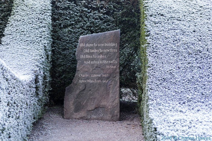 Memorial stone by Caitriona Cartwright Veddw garden, Monmouthshire, Wales.UK. Garden designed and created by Anne Wareham and Charles Hawes