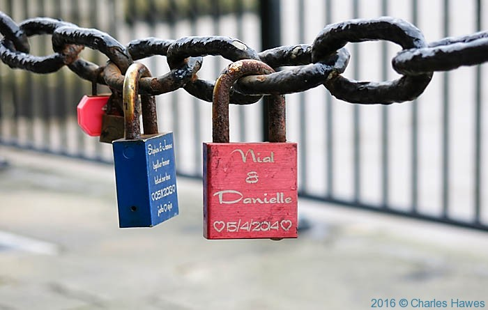 Love Locks, Liverpool waterfront, photographed by Charles Hawes