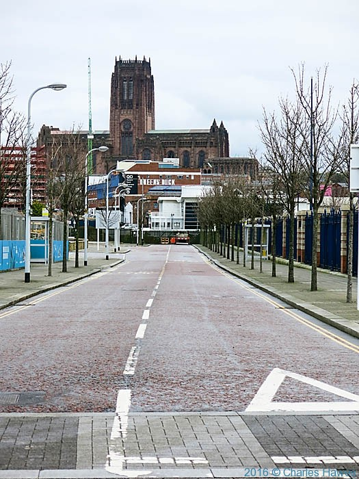 View to the Anglican Cathedral from the View to the Anglican Cathedral from Liverpool waterfront, photographed by Charles Hawes