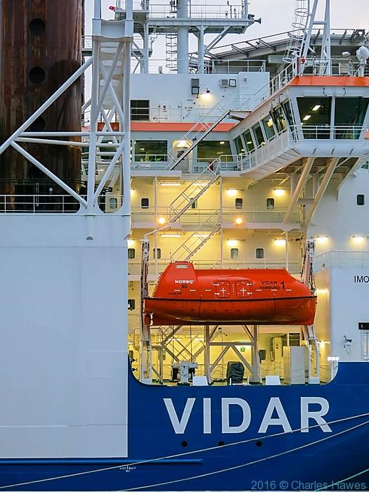 Vidar jack-up heavy lift ship, the Vidar, photographer in Liverpool by Charles Hawes