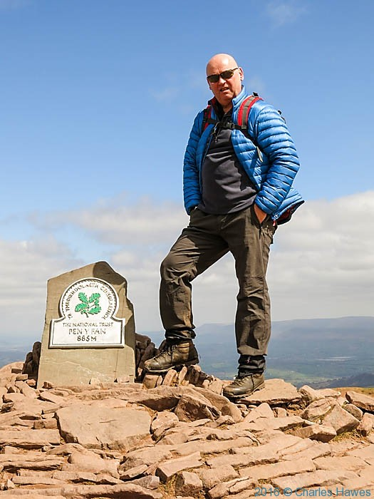 Bob on the Summit of Pen y Fan, Brecon Beacons, photographed by Charles Hawes