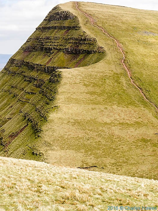 Path climbing Cribyn from Pen y Fan, photographed by Charles Hawes