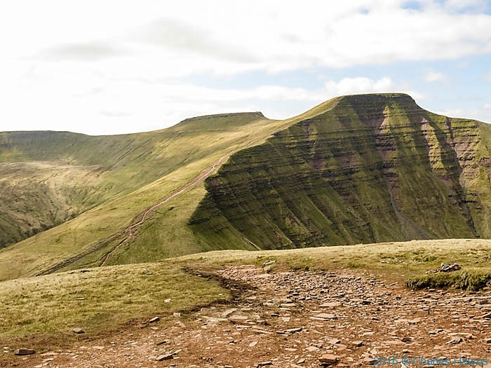 View to Pen y Fan and Corn Du from Cribyn, photographed by Charles Hawes