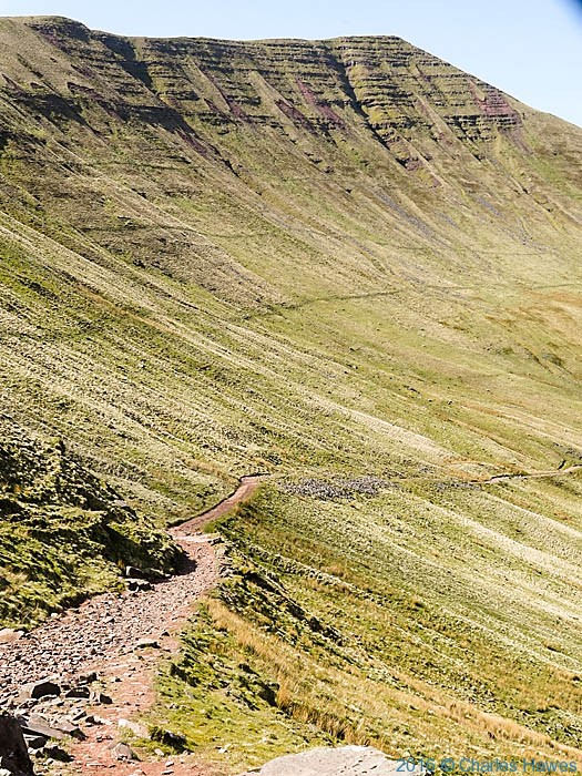 The gap road and escarpment below Cribyn, Brecon Beacons, photographed by Charles Hawes
