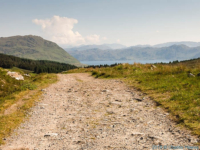 Approaching Inverie on track from the north, Knoydart, Scotland, photographed by Charles Hawes