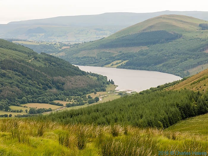 Talybont Reservoir, photographed on the Cambrain Way from Bryniau Gleision by Charles Hawes