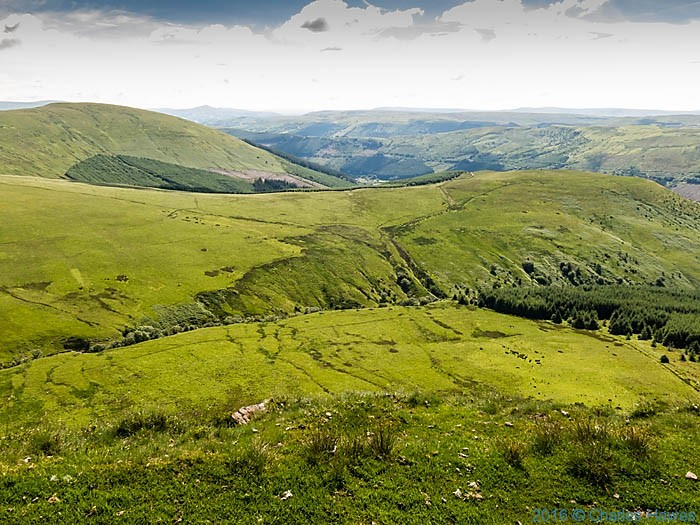 View towards the Talybont reservoir from Craig y Fan Ddu photographed from the Cambrian Way by Charles Hawes