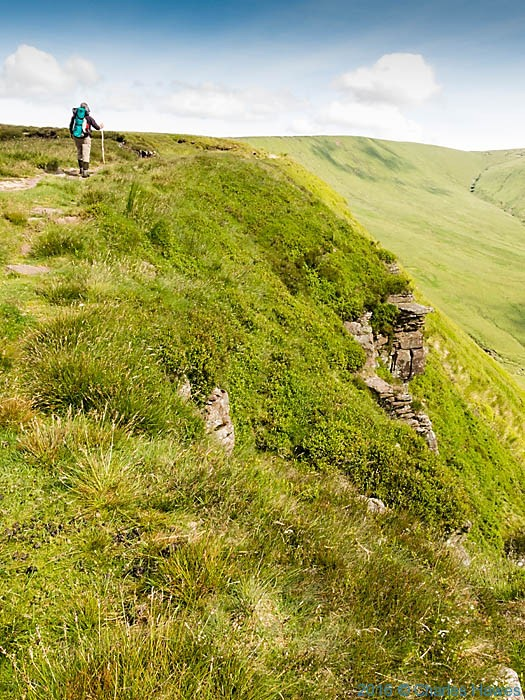 Walking along Craig y Fan Ddu on the Cambrian Way, photographed by Charles Hawes