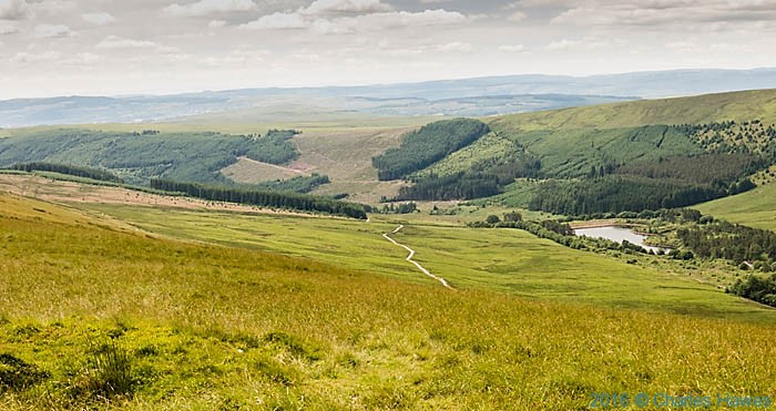 View to the Upper Neuadd Reservoir photographed from The Cambrian Way near Fan y Big by Charles Hawes