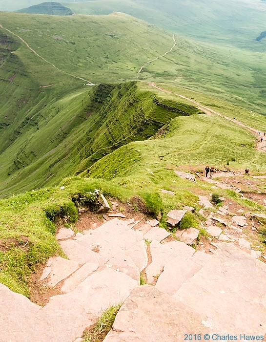 View from near the summit of Pen Y Fan towards Cribyn, photographed by Charles Hawes