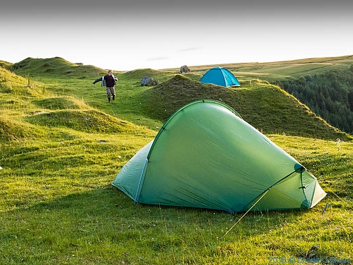 Camping at the disused quarry of Cwr Blaen-dyffryn in the Brecon Beacons in south Wales