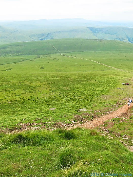 View to path down to Storey Arms from Corn Du, Brecon Beacons, photographed by Charles Hawes