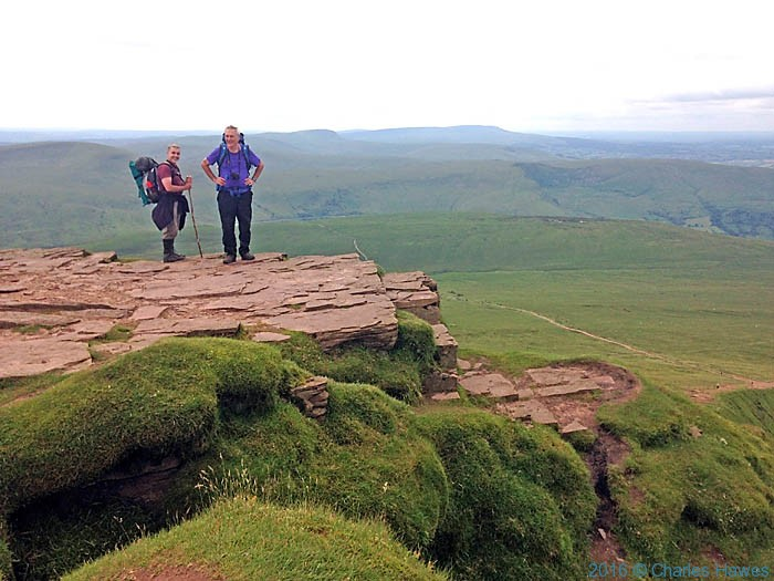 Charles Hawes and Paul Steer on the summit of Corn Du Brecon Beacons, photographed by Neil Smurthwaite