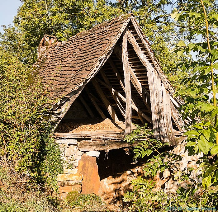 Outbuilding with walnuts above Carennac, France, photographed by Charles Hawes