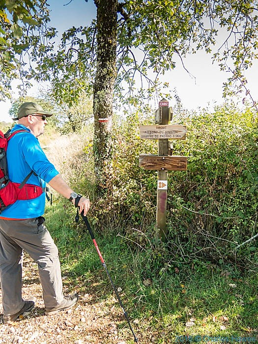Footpath signs near Gouffre de padirac, France, photographed by Charles Hawes
