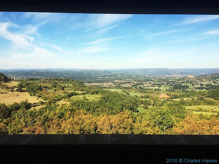 View from the balcony of the Relais de Castelnau, Dordogne, France, photographed by Charles Hawes