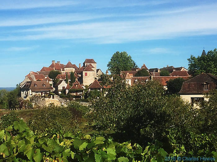 View to Loubressac from the balcony of the Relais de Castelnau, Dordogne, France, photographed by Charles Hawes