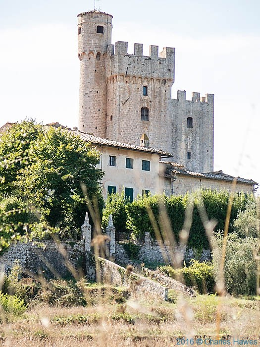 Castello della Chiocciola, photographed from the Via Francigena by Charles Hawes