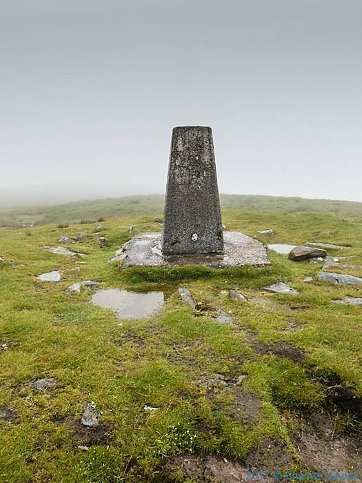 Trig point of Cadair Berwyn, photographed by Charles Hawes